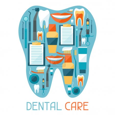Illustration for Medical background design with dental equipment icons. - Royalty Free Image