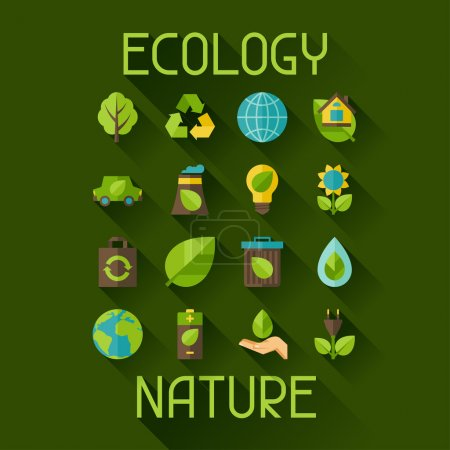 Illustration for Ecology set of environment, green energy and pollution icons. - Royalty Free Image