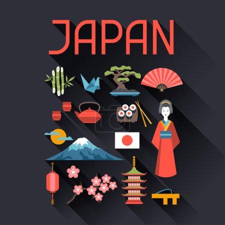 Illustration for Japan icons and symbols set. Illustration on Japanese theme - Royalty Free Image
