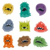 Set of little angry viruses and monsters