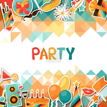 Illustration for Celebration festive background with party sticker icons and objects - Royalty Free Image