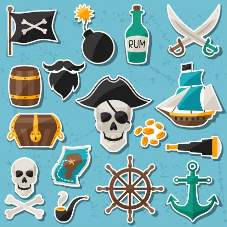 Illustration for Set of stickers and objects on pirate theme - Royalty Free Image