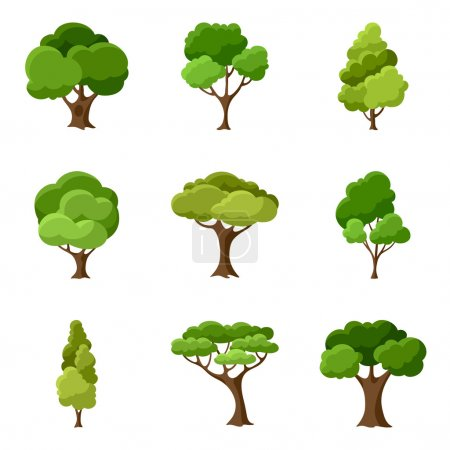 Illustration for Set of abstract stylized trees. Natural illustration - Royalty Free Image