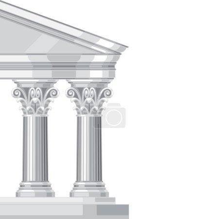 Corinthian realistic antique greek temple with columns