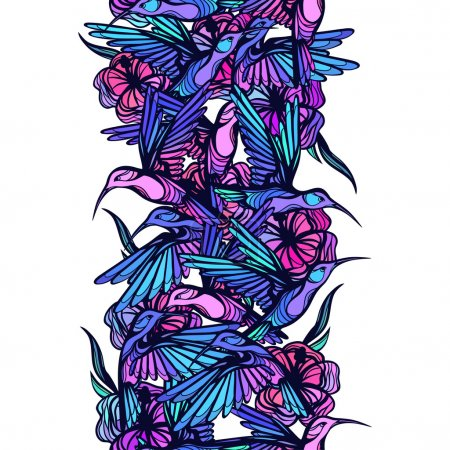 Illustration for Flying tropical hummingbirds with flowers seamless pattern - Royalty Free Image