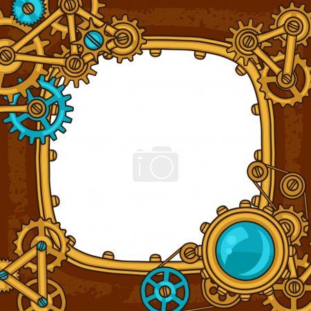 Steampunk frame collage of metal gears in doodle style