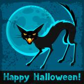 Happy halloween greeting card with angry cat
