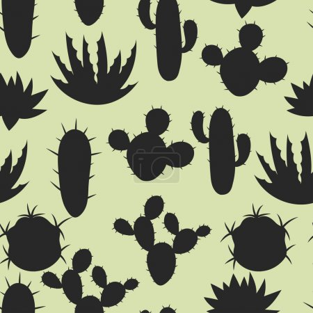 Cactuses and plants stylized natural seamless pattern