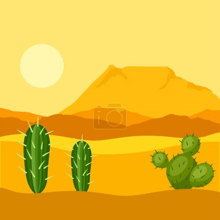 Illustration of mexican desert with cactuses and mountains