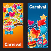 Carnival show and party banners with celebration stickers