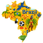 Brazil map with stylized objects and cultural symbols