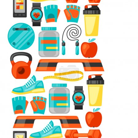 Sports and healthy lifestyle seamless pattern with fitness icons. Image can be used on advertising booklets, banners, flayers