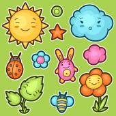 Set of kawaii doodles with different facial expressions Spring collection cheerful cartoon characters sun cloud flower leaf beetles and decorative objects