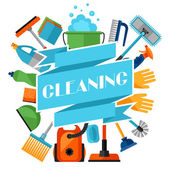 Housekeeping background with cleaning icons Image can be used on advertising booklets banners flayers article social media