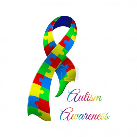 Illustration for Autism awareness day. Card or poster template. Vector illustration - Royalty Free Image