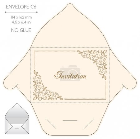 Envelope template with die cut. No glue. Retro sty...