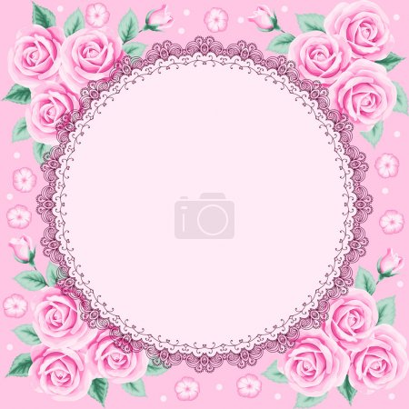 Illustration for Vintage frame with roses and lace frame. Place for your text. Invitation, greeting card template - Royalty Free Image