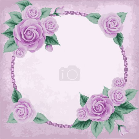 Illustration for Vintage frame with pink roses and ellipse frame. Place for your text. Invitation, greeting card template - Royalty Free Image