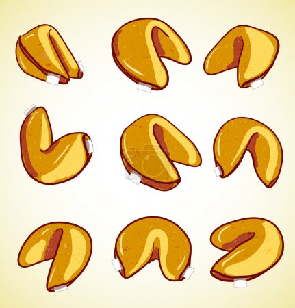 Illustration for Chinese fortune cookies set - Royalty Free Image