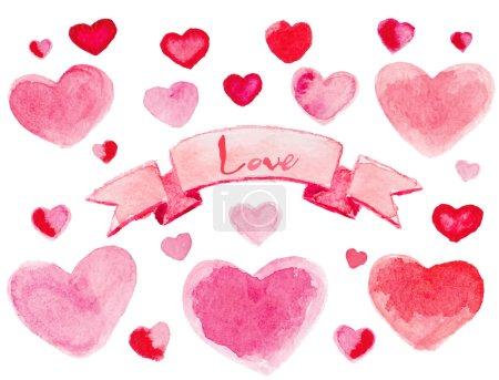 Hearts with ribbon.