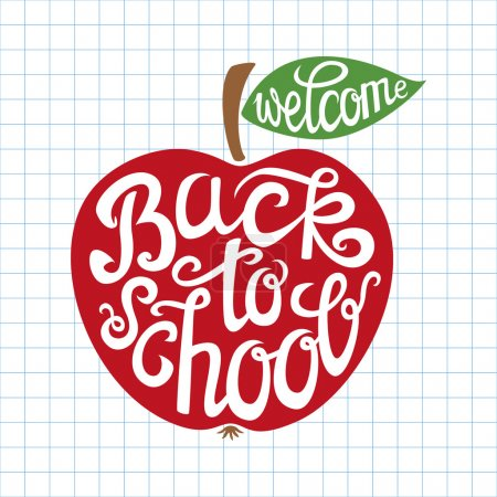 Illustration for Welcome back to school hand-drawn lettering card with red apple.Vector illustration. - Royalty Free Image