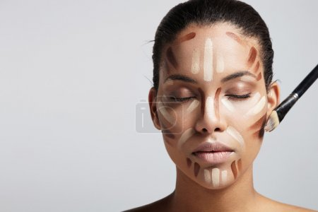 Woman with face correction