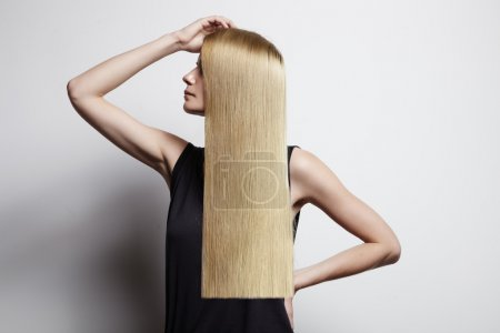Woman with blond ideal hair