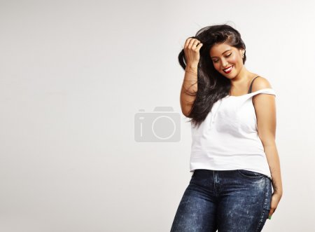 Smiling plus size model