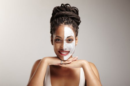 Woman with half of face mask