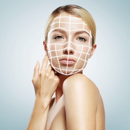 Woman with 3D lines on face