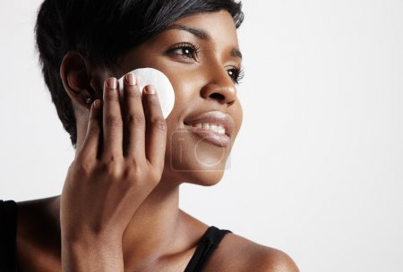 Woman remove foundation