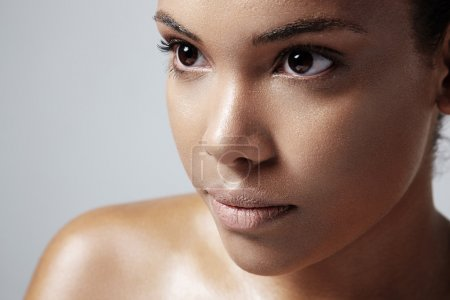 Woman with healthy oily skin