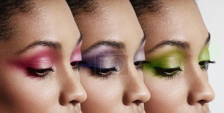 Woman eyes with different eyeshadows