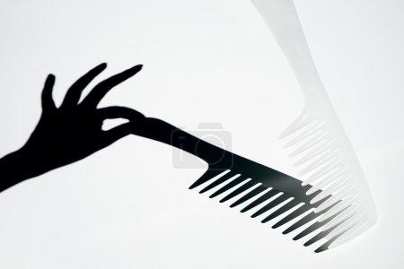 Photo pour Peigne à cheveux avec ombre à main féminine - image libre de droit