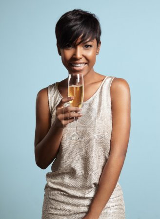 Woman with glass of champagne