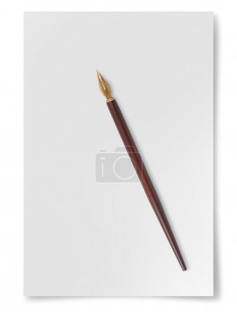 Paper sheet with nib isolated on  white background...