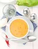 overhead shot of bowl vegetable cream