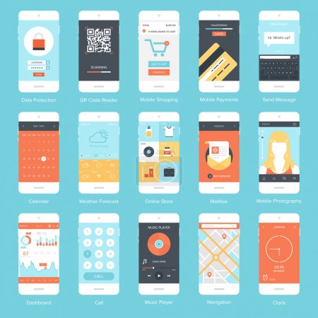 Illustration for Flat vector collection of modern mobile phones with different user interface elements. - Royalty Free Image
