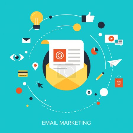 Illustration for Flat vector illustration concept of e-mail marketing on blue background. - Royalty Free Image