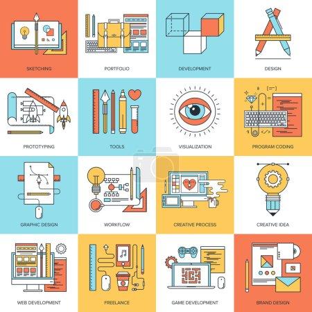 Illustration pour Ligne plate abstrait vector illustration des concepts de conception et de développement. éléments pour mobile et applications web. - image libre de droit