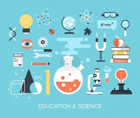 Photo for Abstract flat vector illustration of science and technology concepts. Design elements for mobile and web applications. - Royalty Free Image