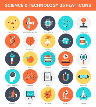 Illustration pour Collection vectorielle abstraite d'icônes colorées de science et de technologie plates. Eléments de conception pour applications mobiles et web . - image libre de droit