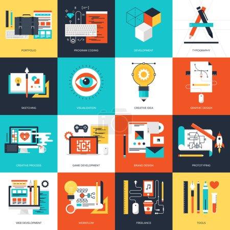 Illustration pour Abstract vector plate illustration des concepts de conception et de développement. éléments pour mobile et applications web. - image libre de droit