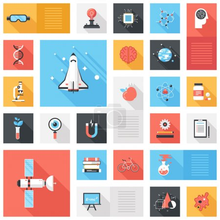 Illustration for Abstract vector collection of colorful flat science and technology iconswith long shadow. Design elements for mobile and web applications. - Royalty Free Image