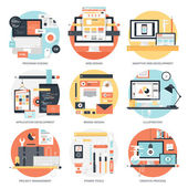 Abstract flat vector illustration of design and development concepts Elements for mobile and web applications
