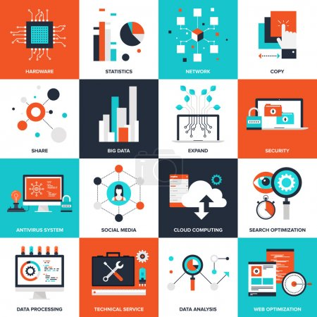 Illustration pour Illustration vectorielle plate abstraite des concepts technologiques. Éléments pour applications mobiles et web . - image libre de droit