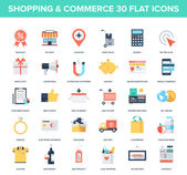 Abstract vector set of colorful flat shopping and commerce icons Creative concepts and design elements for mobile and web applications