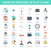 Abstract vector set of colorful flat creative process icons Concepts and design elements for mobile and web applications