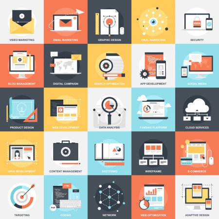 Illustration pour Abstract vector collection d'icônes colorées plats de Seo et le développement. Éléments de conception pour mobile et applications web. - image libre de droit