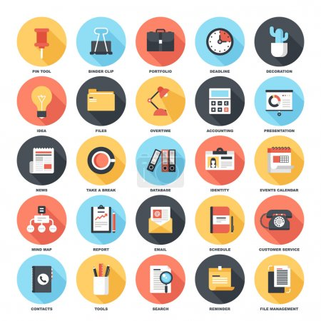 Photo for Abstract vector set of colorful flat business and office icons with long shadow. Concepts and design elements for mobile and web applications. - Royalty Free Image
